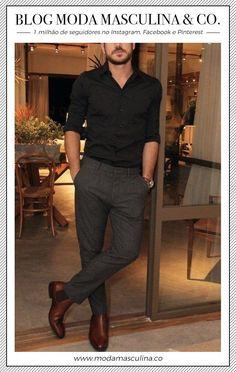 Black shirt, grey pants and brown shoes - Marco Pigossi men's fashion Fashion Mode, Fashion Outfits, Fashion Tips, Fashion Trends, Fashion 2018, Fashion Boots, Paris Fashion, Runway Fashion, Girl Fashion