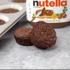 These 2 Ingredient Nutella Brownie Bites are the perfect chewy brownie consistency. And they can be made in the time it takes to preheat the oven The post 2 Ingredient Nutella Brownies appeared first on Dessert Park. Nutella Brownies, Nutella Snacks, Nutella Recipes, Brownie Recipes, Chocolate Recipes, Nutella Deserts, Nutella Muffins, Mini Brownies, Nutella Cookies