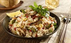 PF Chang's copycat crab fried rice (Wok-fried rice with lump crab meat, shiitake mushrooms, asparagus, egg, smoky bacon, zesty lemon and Sriracha)