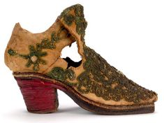 By the late century, men's footwear incorporated heels drawn from Persian riding boots, like this boy's boot with a stacked leather heel. Courtesy the Bata Shoe Museum. Men In Heels, High Heels, 17th Century Clothing, Bata Shoes, Old Shoes, Men's Shoes, Dress Shoes, Fashionable Snow Boots, Baroque Fashion