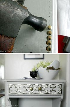 Doctor up your hand-me-down or Ikea furniture with a package of gold pushpins. - Doctor up your hand-me-down or Ikea furniture with a package of gold pushpins. Diy Furniture Projects, Ikea Furniture, Repurposed Furniture, Furniture Making, Furniture Makeover, Painted Furniture, Modern Furniture, Furniture Design, Furniture Market