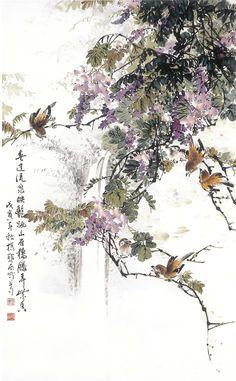 O-Shi Yang  楊鄂西,山雀棲藤弄紫香 (1998)