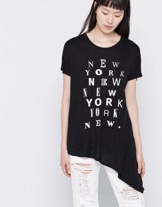 Pull&Bear - femme - t-shirts - t-shirt imprimé bas asymétrique - noir - 05244350-V2016