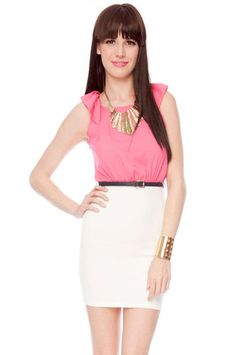 Cap It Belted Dress in Pink and White $40 at www.tobi.com