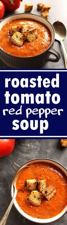 Healing Roasted Tomato and Red Pepper Soup - Creamy soup bursting with tomatoes,. - Healing Roasted Tomato and Red Pepper Soup – Creamy soup bursting with tomatoes, roasted red pepp - Vegetarian Recipes, Cooking Recipes, Healthy Recipes, Cooking Ideas, Vegetarian Cookbook, Vegetarian Lunch, Vegan Soups, Cooking Games, Vegan Dishes