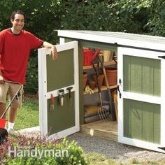 Build a beautiful outdoor storage locker. Enough to store your lawnmower, long-handled tools and gardening materials.