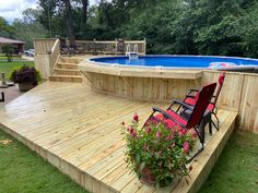Above Ground Pool Landscaping, Above Ground Pool Decks, Above Ground Swimming Pools, In Ground Pools, Landscaping Around Trees, Landscaping Ideas, Backyard Landscaping, Diy In Ground Pool, Rectangle Above Ground Pool