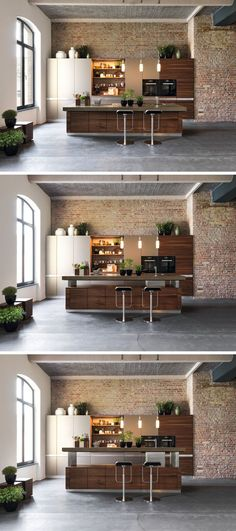 Kitchen Design Idea - Install An Adjustable Height Kitchen Island and really cool pendant lights