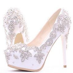 29a4a45d565 Mesh Flower Appliqued Beading Platform Heel Bridal Shoes