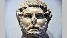 Portrait head of Roman Emperor Hadrian. 117-138 A.D. Ephesos Museum, Vienna.