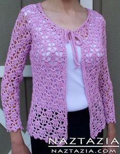 """Free Pattern - Crochet Lacy Cardigan Sweater [ """"Free Pattern - Crochet Lacy Cardigan Sweater - some other pretty clothing patterns for free here, too."""", """"Naztazia® - Creative Self-Sufficient Living Website (Link zur Anleitung."""", """"Free Pattern - Crochet Lacy Cardigan Sweater by Doris Chan - this links straight to the pdf."""", """"Free Pattern - Crochet Lacy Cardigan Sweater (links to page with lots of other pattern links, PDFs, and video tutorials. Many different kinds of patterns here."""", ..."""