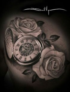 beautiful skull tattoos for women Large Tattoos, Trendy Tattoos, Tattoos For Women, Time Piece Tattoo, Pieces Tattoo, Back Tattoos, Sleeve Tattoos, Tatoos, Stop Watch Tattoo