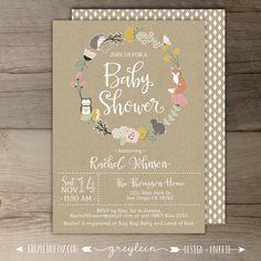 Woodland Baby Shower Invitations • Floral Wreath • Fox Hedgehog Owl Bunny • book instead of a card • DIY Printable Invites