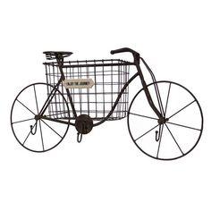 VIP International Bike Wall Basket ($90) ❤ liked on Polyvore featuring home, home decor, small item storage, metallic silver, metal wall basket, bike home decor, interior wall decor, bike basket and metal basket