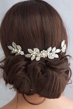 Antique Silver Wedding Hair Accessory Leaf Hair Vine Headpiece Bridal Hair Comb Swarovski Golden Shadow Crystal Bridal Hair Accessory STACEY by LuluSplendor on Etsy https://www.etsy.com/listing/231761619/antique-silver-wedding-hair-accessory