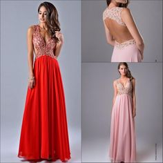 New Arrival Deep V-neck Sleeveless Evening Dresses 2015 Beaded Chiffon Sleeveless Floor Length A-line Backless Formal Prom Party Dress Gowns Online with $149.24/Piece on Marrysa's Store | DHgate.com