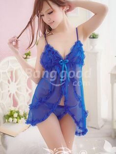 Sexy Sleepwear Babydoll Lingerie Dress + G-string Hot