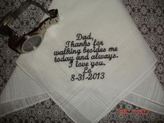 Personalized Wedding Handkerchief gift Hankie embroidered Mother of the Bride Father of the Bride / Groom Gifts #fatherofthebrideoutfit #father #of #the #bride #outfit #mother #and #father #of #the #bride #outfits