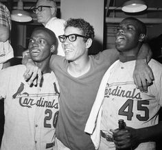 Trio of Cardinals - Lou Brock, Julian Javier, and Bob Gibson celebrating victory over the Red Sox to win the 1967 World Series. St Louis Baseball, St Louis Cardinals Baseball, Baseball Star, Stl Cardinals, Baseball Players, Baseball Classic, Baseball Pics, Baseball Tickets, Mlb Players