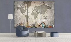 LARGE World Map Canvas Wall Art / Extra Large 3 by CanvasFactoryCo