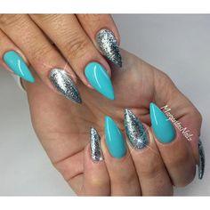 Blue and mint glitter stiletto nails