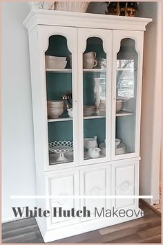 Shabby white painted hutch for a perfect rustic cottage farmhouse feel Rustic Farmhouse Furniture, Cottage Farmhouse, Farmhouse Design, Space Saving Furniture, Furniture Storage, Furniture Ideas, White Hutch, Painted Hutch, Multipurpose Furniture