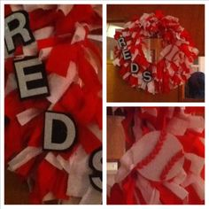 Finished my fabric rag wreath! Made with strips of flannel. Red and white for versatility... Reds, OSU, Memorial Day, Christmas, etc... Just going to replace additions to the wreath! Needs a ribbon/bow though!
