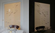 Modern chinoiserie 'Fish' design from Misha wallpaper, hand painted on Cream dupion silk.