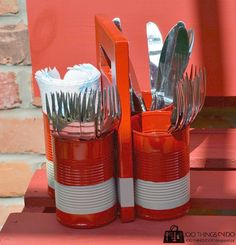 DIY Cutlery Caddy, patio utensil caddy