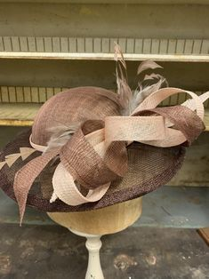 Bashful Bows Small Brim Brown And Blush Sinamay Kentucky Derby | Etsy Can Makeup, Races Fashion, Cocktail Hat, Church Hats, Brim Hat, Derby Hats, Kentucky Derby, Mother Of The Bride, Fascinator