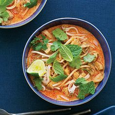 "Chicken Laksa!  ""This spicy Malaysian soup may have a long list of ingredients, but it's super easy."""