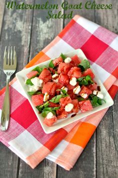 Watermelon is the best summer fruit. Enjoy it in a delicious watermelon goat cheese salad for an amazing and light snack or lunch.