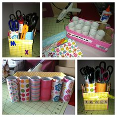 toilet roll and shoe box recycled for stationeries