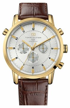 Tommy Hilfiger Round Chronograph Leather Strap Watch, 44mm | Nordstrom