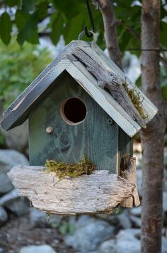 Rustic Birdhouse Blue Hand Painted.