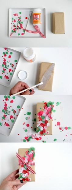 If you tend to do things a little last minute like me, here's a unique and creative idea for embellishing wrapped gifts. This DIY confetti gift wrap is so fun and colorful for Christmas. This is one of those ideas you'll want to adapt to birthday too.