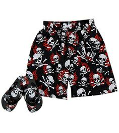 Jump N Splash Boys' Fire Skull Swim Trunk w/ FREE Flipflops (4-14) #swimoutlet Swimsuits 2014, Swimwear, Swim Shop, Swim Trunks, Flip Flops, Skull, Swimming, Fire, Boys