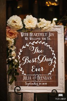 Wooden Wedding Sign The Best Day Ever Welcome by BeauTiedAffair