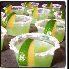 Margarita jello shots! Margarita flavored jello, 1 cup boiling water, 1 cup tequila. Set for 4 hours, salt the rim, add some lime and enjoy! by lucinda
