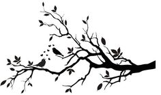 Printable Bird On Branch Silhouette | Decorative Birds on a Branch Silhouette Vinyl by VillageVinePress, $29 ...