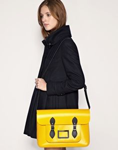 "Cambridge Satchel 15"".  Love the coat too."