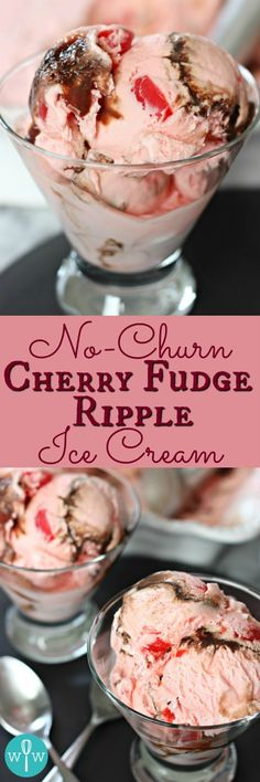 No-Churn Cherry Fudge Ripple Ice Cream – An amazingly delicious ice cream you can make without an ice cream maker! Full of cherry flavor with a touch of chocolate. | www.worthwhisking.com