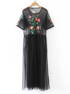 Shop Flower Embroidery Sheer Mesh Dress online. SheIn offers Flower Embroidery Sheer Mesh Dress & more to fit your fashionable needs.