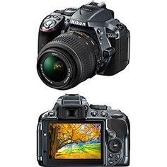 Câmera Digital DSLR Nikon D5300 sensor CMOS DX 24.2MP 18-55mm Cinza