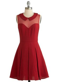 Served on Skates Dress - Mid-length, Red, Solid, Peter Pan Collar, Pleats, Party, A-line, Sleeveless, Collared