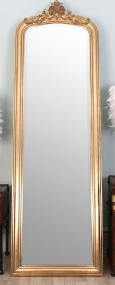 Large full length shabby chic ornate gold wall mirror 5ft6 for Long length mirrors for walls
