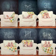 Chalkboard Backdrop Portraits --- Pose your peanut in front of a chalkboard where you write his age when taking a monthly photo like Jade Brookbank did for her twins. If you don't have a large chalkboard, cover the inside of a picture frame with chalkboard paint and prop it on an easel.