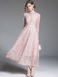 ff88914aaa6 A-line Casual Guipure lace Solid Lace Dresses