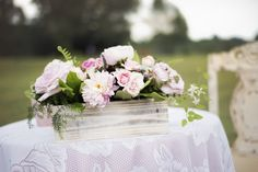 Sweetheart table. Dahlias and garden roses in wooden box.  Flowers by Tami McAllister | Photo by Andria Powers