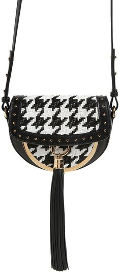 Front flap with leather tassel . Houndstooth pattern placement may vary . Luxury Shop, Luxury Bags, Leather Tassel, Leather Bag, Balmain Bag, Chevrons, Alabama Crimson Tide, Textile Patterns, White Fashion